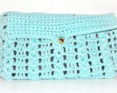 Crocheted Wallet in Turquoise