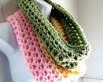 Infinity Scarf, Green, Cream and Pink Scarf  Cowl, Crocheted Scarf
