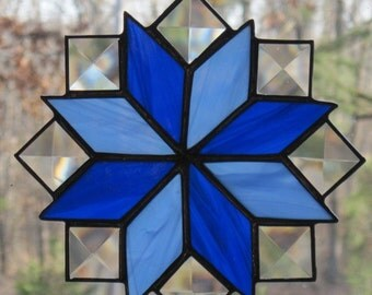 Stained Glass Suncatcher, Quilt Pattern - 8 Point Star in Blue with Clear Bevels