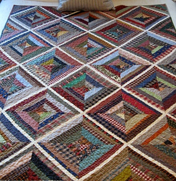"kaleidoscope / farmhouse / homespun nap quilt.....60""x45"".......echo quilt no. 35......ready to ship"