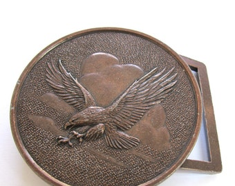 Antiqued Copper Metal, Flying Eagle, 75mm Round  Belt Buckle, 1077-25