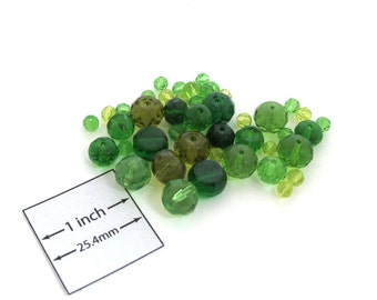 Green Colors Round and Rondelle Crystal Glass Beads Mix, Set of 47 pc, 1085-09