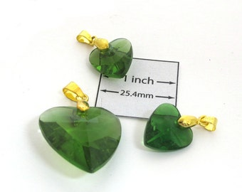 Green Faceted Glass, Gold Metal Bail, HEART  35mm x 28mm Pendant and 25mm x 17mm Two Charms Set, 1085-14