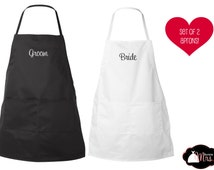 CUSTOM APRON SET - Bride / Groom Personalized, Many Colors & Fonts, Just Married, Honeymoon