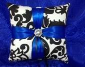 DAMASK RING PILLOW and or Basket -   black damask on White with Royal blue ribbon Ringbearer Flower Basket, choose  Ribbon Color