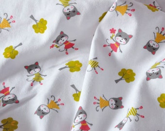 3228 - Cat in the Forest Cotton Jersey Knit Fabric - 70 Inch (Width) x 1/2 Yard (Length)