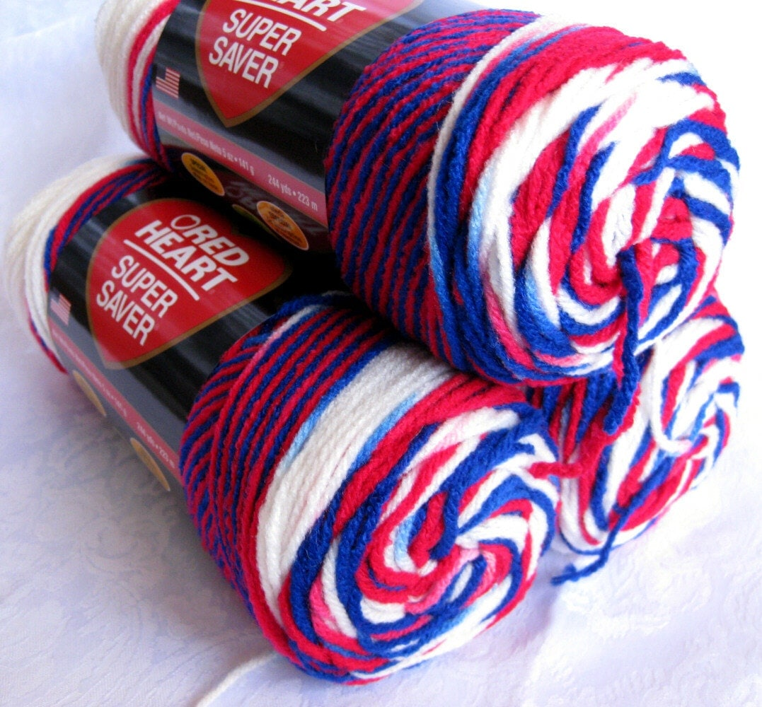 Red Heart Super Saver yarn STARS & STRIPES red white by ...