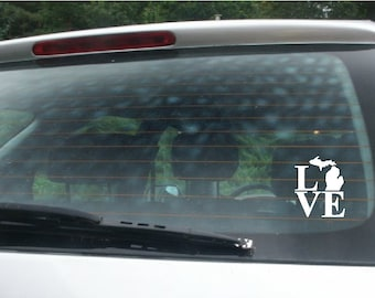 Love Michigan -  Vinyl Car Window Decal V1 SMALL VERSION