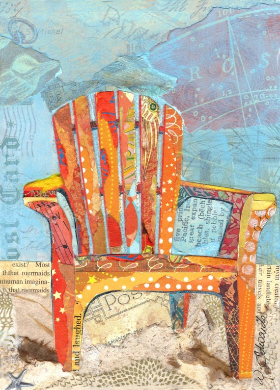 Beach Chairs - Torn Paper Paintings Notecards