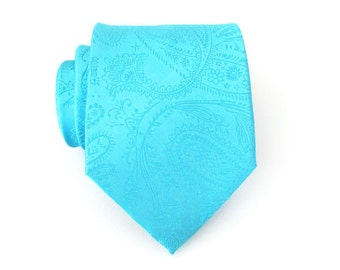 Mens Tie. Turquoise Paisley Mens Tie Teal Tonal Paisley Necktie With Matching Pocket Square Option