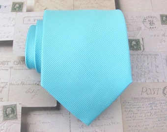Mens Tie. Pool Blue Aqua Robin Egg Blue Tonal Stripes Necktie Inspired by Alfred Angelo's Blue Box