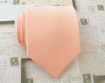 Peach Tie. Wedding Ties. Mens Tie Light Peach Mens Neckties