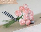 1 dozen Mini Pink German Cotton Spun Mushrooms
