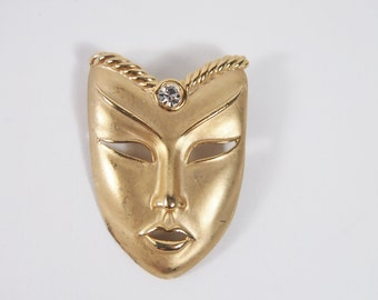 Rhinestone Gold Tone Mask Brooch 80s Vintage Jewelry