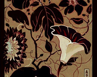 OLD CHINA, Zen Floral Botanical Garden, Original Digital Drawing printed on Mulberry Rice Paper in 8x10 black mat, Ready to Frame