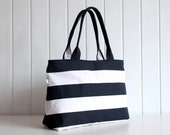Hey Sailor.. Navy / White Bold Stripes Tote Bag / Beach Bag / ZIPPER TOP CLOSURE / Diaper Bag, Laptop Bag, Large, Medium - bayanhippo