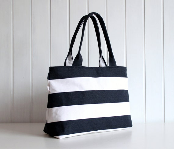hey sailor navy white bold stripes tote bag beach bag zipper top closure diaper bag. Black Bedroom Furniture Sets. Home Design Ideas
