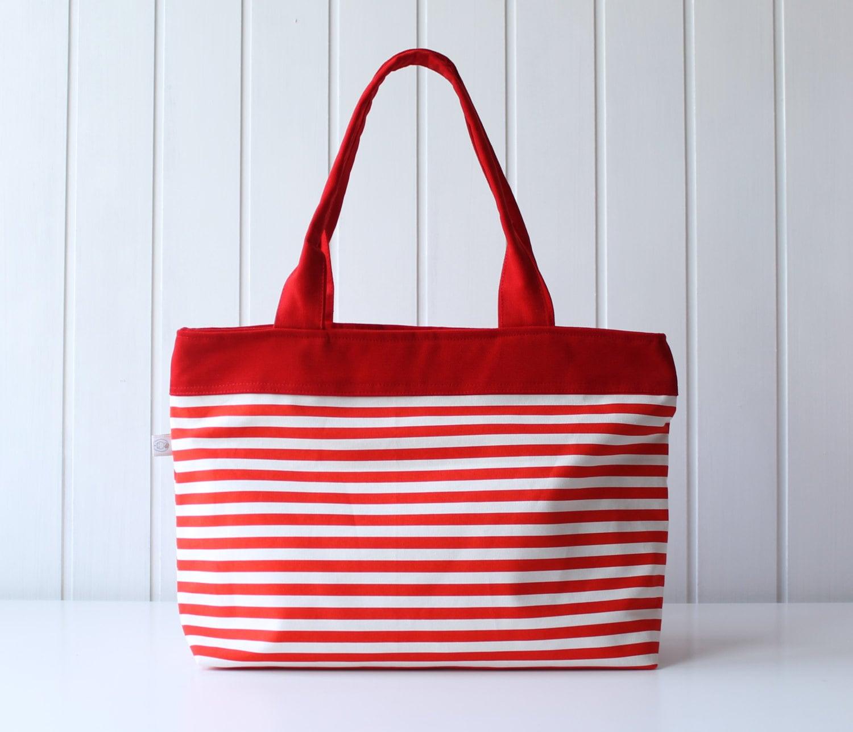 Hey Sailor.. Red / White Thin Stripes Tote Bag / Beach Bag /
