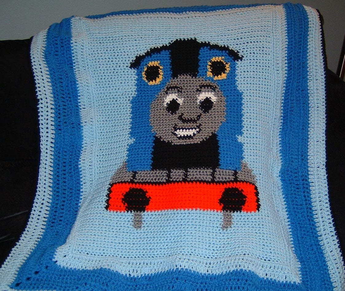 Knitting Pattern Train Blanket : Thomas the Train Crochet Graph by wldhart07 on Etsy