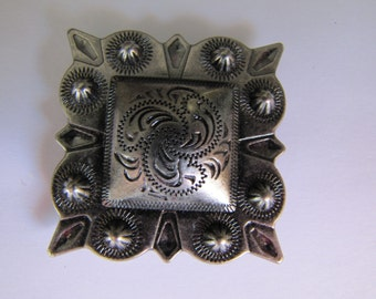 2 Inch Square Pewter Concho Pendant Cowgirl Western Rodeo Britz Beads Supply