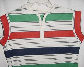 Vintage 70s Striped Polyester Short Sleeved Ladies Top M