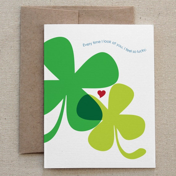 "Love Card. Funny. For Boyfriend, Girlfriend, Husband, Wife, Partner. Humor. Snarky. Sexy. Green Clovers. ""I'm Hotter Than You"" (CLV-H004d)"