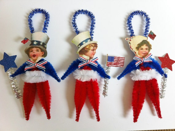 PATRIOTIC American flag set of 3 vintage style CHENILLE ORNAMENTS feather tree