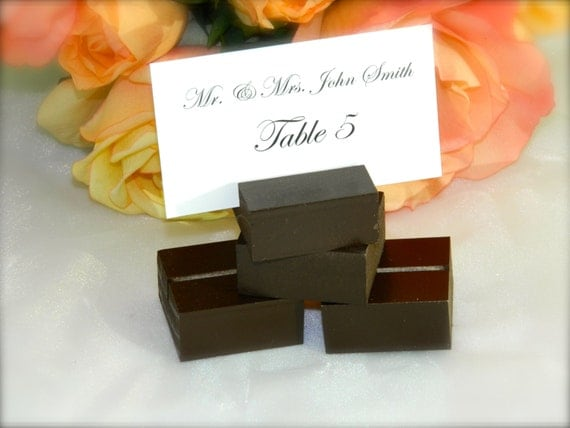 Chocolate Brown- Wood square place card holders-Set of 150