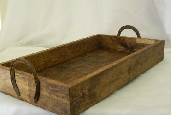 Sale Rustic Wood Wedding Box Tray With Horse Shoe Handles 20 X