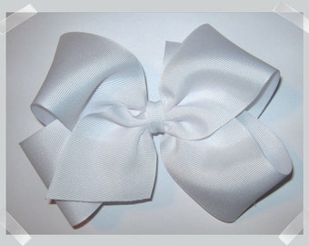 X-Large KING Size Grosgrain Hair Bow in White