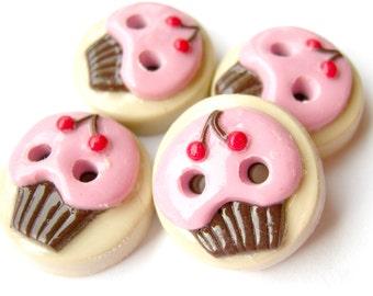 Cherry Cupcakes  (set of 4)