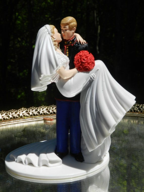 Us Military Marine Corps Wedding Cake Topper Kiss Groom