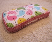 Boutique style Baby Wipes Case, Robert Kaufman Spring Birds, Ready to ship