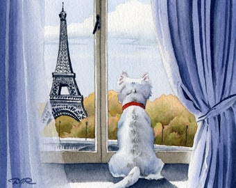 """West Highland Terrier Art Print """"WEST HIGHLAND TERRIER In Paris"""" Signed by Watercolor Artist D J Rogers"""