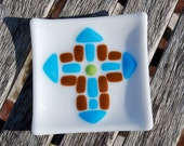 Cross Dish Turquoise Blue and Brown Fused Glass Christian Gift Christmas