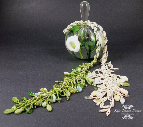 SALE - Chartreuse and White Beaded Lariat