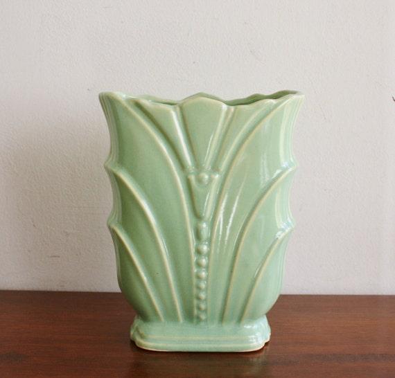 Vintage Ceramic Seafoam Green Vase Usa Pottery