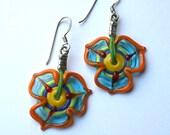happy colrful flower dangling earrings lampwork glass handmade by YasminSivan