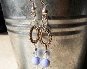Light sapphire and swarovski crystal earrings