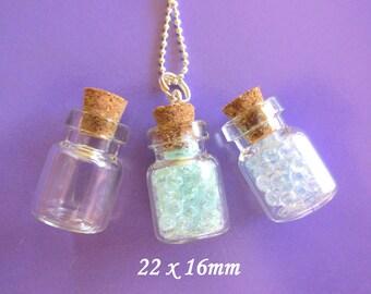 10 Glass Vials Bottles Small Jars  22 x 15mm   Miniature Mini Shorties with Corks Charms Beads Terrarium Jar