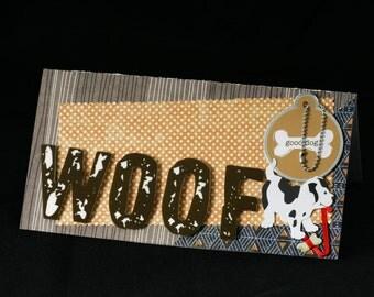 Checkbook Cover Vinyl Unique Handmade Doggy Woof Design