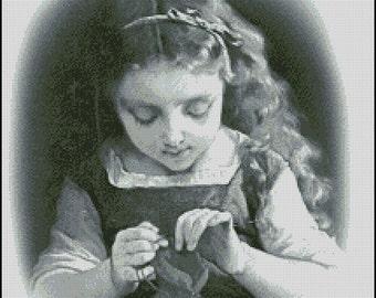 VINTAGE Girl Knitting cross stitch pattern No.734