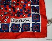 Silk scarf vintage Creazioni Bayron Cicogna Milano Italy designer red white blue flowers
