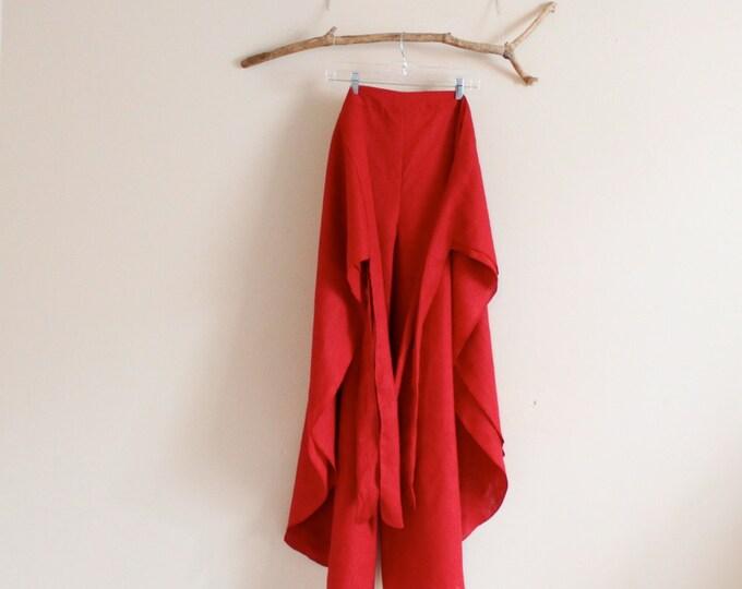 plus size linen butterfly flare wrap around pants / free size linen wrap pants / custom color / custom length / custom width