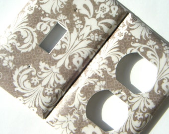 Switchplate Light Switch Cover Outlet Cover -- Tan Fancy