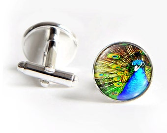 PEACOCK Cufflinks silver 18mm cuff links Gifts for him