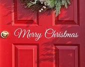 Merry Christmas Decal door Decor, Wall decal Word Merry Christmas, Holiday Vinyl Lettering, Entry Way Door Decal, Christmas Window Stickers
