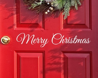 Merry Christmas Decal door Decor, Wall decal Word Merry Christmas, Holiday Vinyl Lettering, Entry Way Door Decal