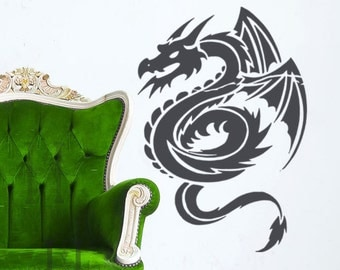 Dragon Vinyl Wall Decal Decor, Serpent, Geekery Gamer Gifts, Dorm Room Wall Decor, fantasy medieval Decorations, Vinyl Wall Decal