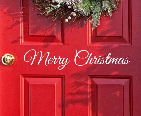 Merry Christmas Decal Decor - Wall Word - Merry Christmas Vinyl Lettering - Entry Way Door Decal